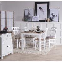 Dalarös matgrupp 140 cm bord vit/ek med 4 st stolar