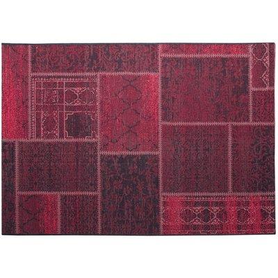 Flatvävd / slätvävd matta - Artisan - Svart/Wildberry/Röd