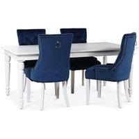 Paris matgrupp vitt bord med 4 st Tuva Decotique stolar i blått sammet med rygghandtag