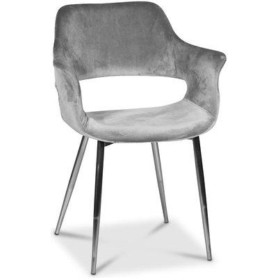Flap karmstol - Grå sammet / kromade ben