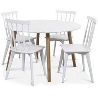 Rosvik matgrupp Runt bord vit/ek med 4 st vita Linköping Pinnstolar