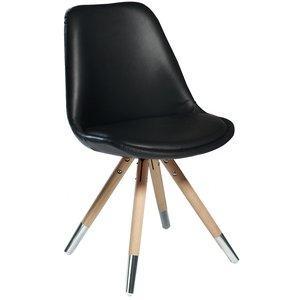 Orso stol med svart mjukt konstläder - Whitewash ek krom