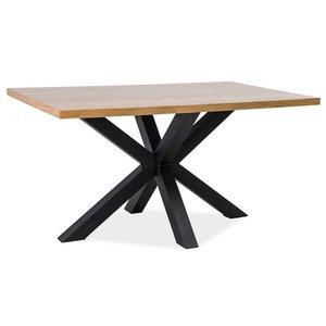 Finley matbord 180 cm - Massiv ek/svart