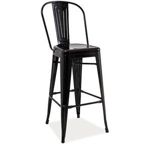 Barstol med rygg Industry - Svartmetallic