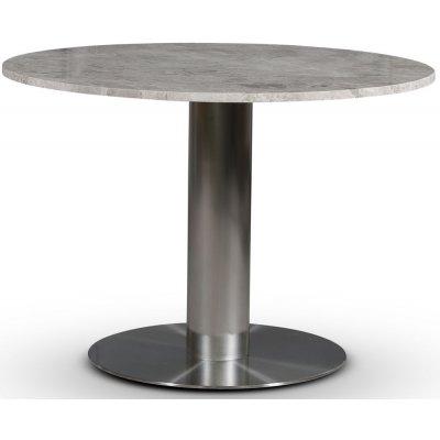 SOHO matbord Ø105 cm - Borstat aluminium / Silver marmor