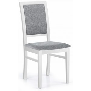 Brenda matstol - Vit med ljusgrå klädsel