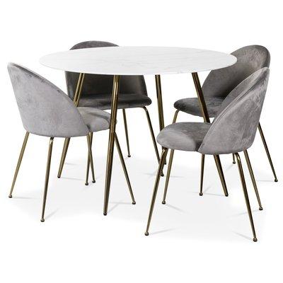 Art matgrupp: Runt bord marmor/Mässing + 4 st Art stolar grå sammet / mässing