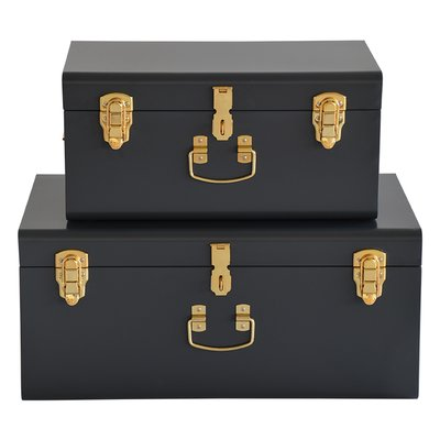 Matteus koffert X 2 (mörkgrå | mässing)