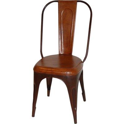 Stol Toxil - Vintage rostfärgad metall/läder