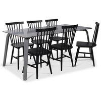 Visby matgrupp, 180 cm grått bord med 6 st svarta Karl Pinnstolar