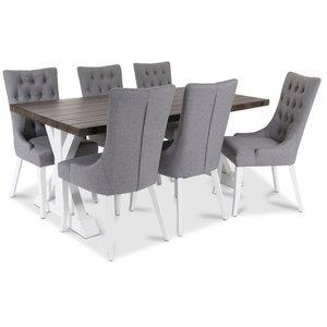 Provence Matgrupp med 6 st Tuva Dense stolar med Grått tyg