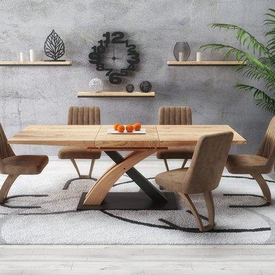 Lyall matbord 160-220cm - Ek/svart