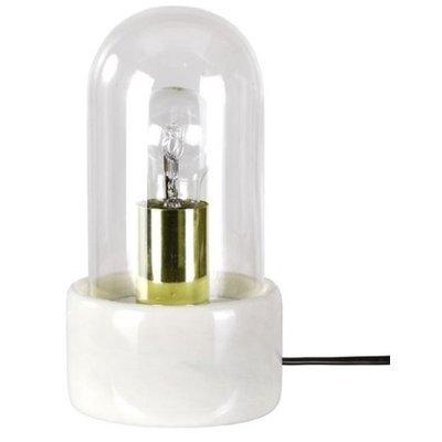 Bordslampa Stenhaga - Vit marmor / Mässing