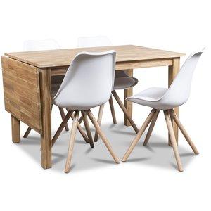 Twister matgrupp, klaffbord Österlen 120 cm ek med 4 st vita Twist matstolar