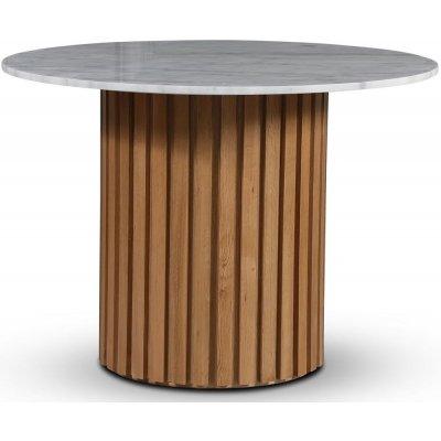Sumo matbord Ø105 cm - Oljad ek / Ljus marmor