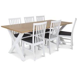 Isabelle matgrupp - Bord inklusive 6 st Herrgård Alice stolar - Vit/ekbets
