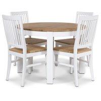 Dalarö matgrupp runt bord + 4 stolar - Vit/ek