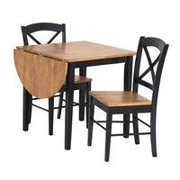 Matgrupp: Merida bord med 1 klaff - Svart / ek - 75 / 111 cm + stolar
