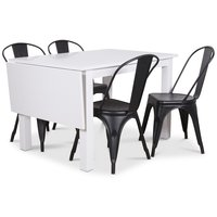 Sander matgrupp, Klaffbord med 4 st svarta metallstolar - Vit/Svart