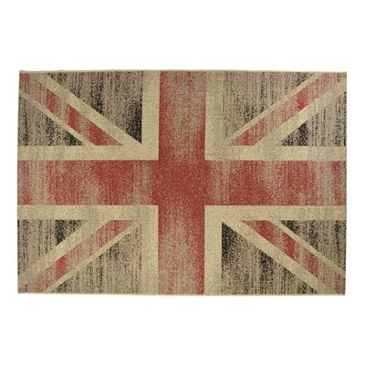 Flatvävd / slätvävd matta - Union Jack - sand/red