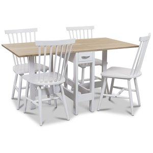 Signum matgrupp Slagbord vit/ek med 4 st vita Visby pinnstolar