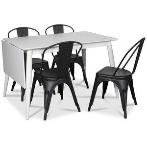 Tärnö matgrupp, Klaffbord med 4 st svarta plåtstolar