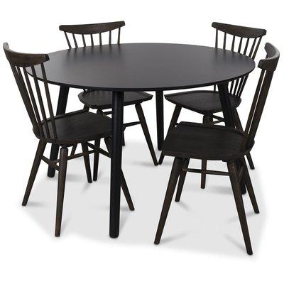 Rosvik matgrupp runt svart matbord med 4 st Thor pinnstolar- Svart / Brunoljad ek