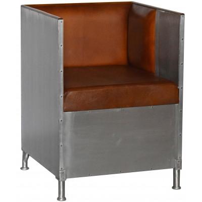 Abbe fåtölj i aluminium - Brunt läder
