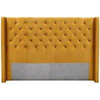 Almedal sänggavel med knappar (Guld Sammet) - Valfri bredd