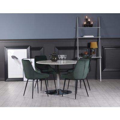 Plaza matgrupp, marmorbord med 4 st Theo sammetsstolar - Grön/Vit/Krom