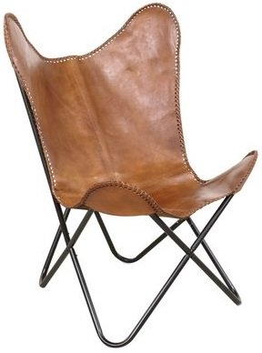Fladdermusfåtölj Baltimore - Äkta läder cognac / svarta ben