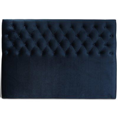Anna sänggavel med knappar (Mörkblå sammet) - Valfri bredd