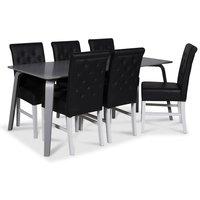 Visby matgrupp, 180 cm grått bord med 6 st Twitter matstolar i svart PU
