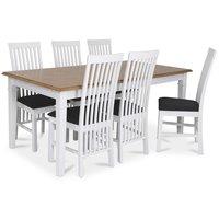 Ramnäs matgrupp - Bord inklusive 6 st Vindö stolar - Vit/ekbets