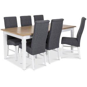 Ramnäs matgrupp - Bord inklusive 6 st Isabelle stolar - Vit/ekbets