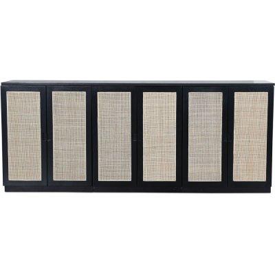 Level sideboard med dörrar i rotting B210 cm - Svart