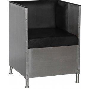 Abbe fåtölj i aluminium - Svart läder & 8990.00