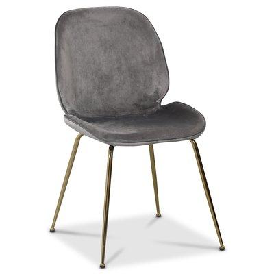 Deco velvet stol - Mörkgrå / Mässing
