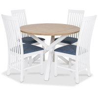 Skagen matgrupp - Runt bord inklusive 4 st Herrgård Vindö stolar med blå sits - Vit/Ekbets