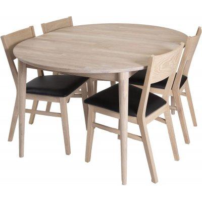 Odense matgrupp inkl. 4 st Flen stolar - Vitoljad ek/Svart PU