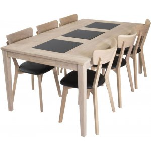 Visingsö matgrupp inkl. 6 st Eksjö stolar - Vitoljad ek/granit