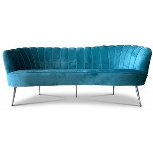 Snäckan 3-sits soffa - Turkos sammet / Krom