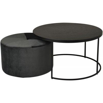 Helvia soffbord set - Svart askfanér/sammet