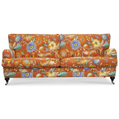 Savoy 3-sits soffa med blommigt tyg - Havanna Terracotta