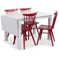 Sander matgrupp, Bord med klaff och 4 st röda Thor pinnstolar