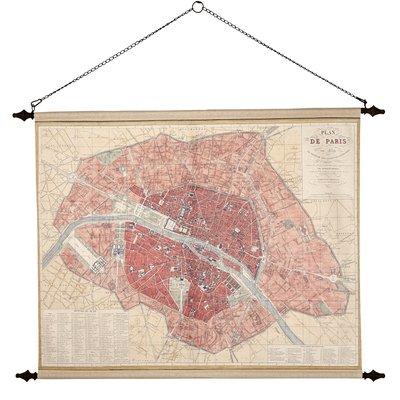 Väggdekoration - Paris vintage karta