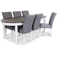 Hampstead matgrupp, bord med 6 st Oliva stolar i grått linneliknande tyg