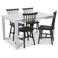 Mellby matgrupp 140 cm bord med 4 st Karl Pinnstolar brunoljad ek - Vit / Brun