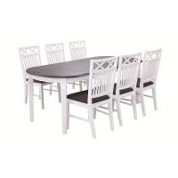 Ramnäs oval matgrupp - Bord inklusive 6 st stolar - Vit/brun
