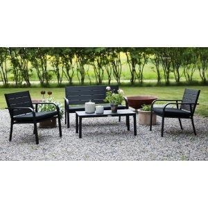 Alesund Loungegrupp med bord och dynset - Svart